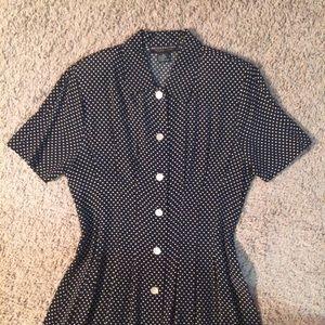Metropolitan vintage polka dot shirt dress